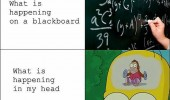 What is happening on a blackboard. What is happening in my head. A cymbal-banging monkey toy in Homer Simpson's head.