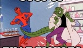 A 60's Spider-Man meme of The Lizard hitting Spider-Man with his tail. Stop it, that tickles.
