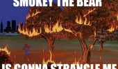 A 60's Spider-Man meme of trees on fire. Smokey the Bear is gonna strangle me.