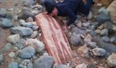 Meanwhile in X meme. Meanwhile on Planet Bacon. A man touching a rock that looks like a giant piece of bacon.