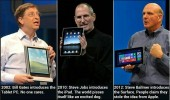 A funny picture meme of Microsoft Surface. 2002: Bill Gates introduces the Tablet PC. No one cares. 2010: Steve Jobs introduces the iPad. The world pisses itself like an excited dog. 2012: Steve Ballmer introduces the Surface. People claim it was stolen from Apple.