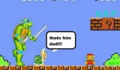 A Koopa Troopa and Leonardo from Teenage Mutant Ninja Turtles. That's him dad. In the Super Mario Bros Nintendo game.