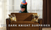 A meme of Batman behind a couch wearing a party hat. The Dark Knight Surprises.