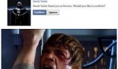 A Star Wars meme. Darth Vader sends a friend request on Facebook to his son Luke Skywalker. Noooooo!