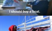 A cat buys a boat.