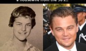 A funny picture of a woman who looks like Leonardo DiCaprio.
